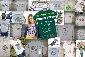 52 Cool T-shirt Designs Bundle Offer