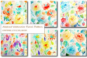 Watercolor Abstract Floral Patterns