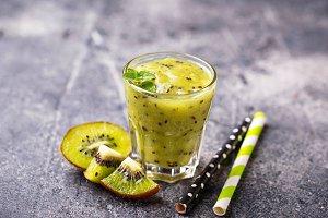 Sweet healthy kiwi smoothie cocktail