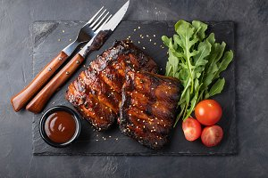 Closeup of pork ribs grilled with