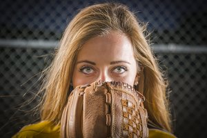 Young Woman with Softball Glove Cove