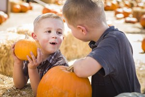 Two Boys at the Pumpkin Patch Talkin