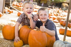 Two Boys at the Pumpkin Patch with T