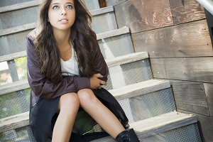 Mixed Race Young Adult Woman Portrai