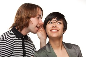 Attractive Diverse Couple Whispering