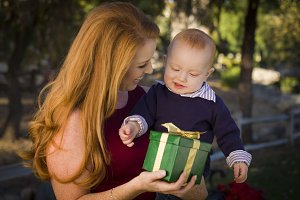 Beautiful Young Mother and Baby with