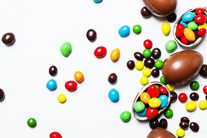 Easter composition with chocolate eg