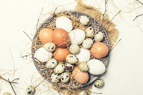 Multicolored chicken and quail eggs…