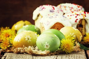 Easter green and yellow painted eggs