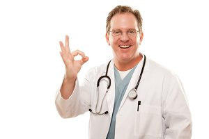 Male Doctor Giving the Okay Sign wit
