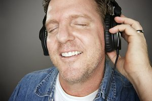Man Wearing Headphones