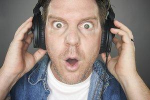 Shocked Man Wearing Headphones