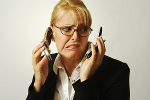 Frustrated Cell Phone Businesswoman.