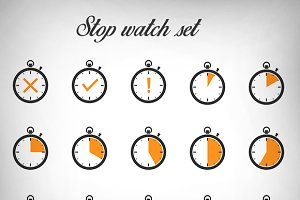 Stopwatch icons vector set