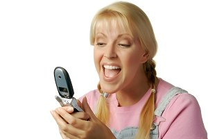 Happy Girl Texting with Cell Phone