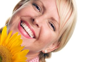 Attractive Blond and Sunflower