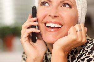 Attractive Caucasian Woman Talking o