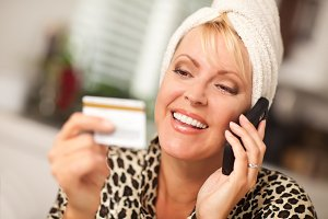 Smiling Robed Woman on Cell Phone Wi