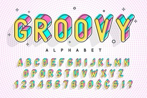 Trendy display font popart design