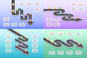 Isometric navigation map infographic