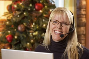 Woman with Phone Headset In Front of