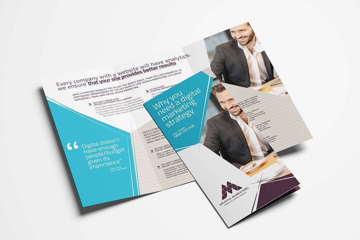 3 Fold Brochure Template | Digital Marketing Tri Fold Brochure Brochure Templates Creative
