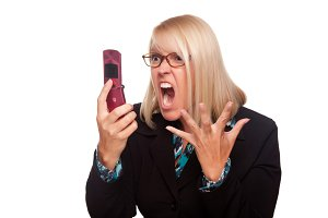 Angry Woman Yells At Cell Phone