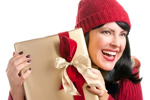 Pretty Woman Holding Holiday Gift