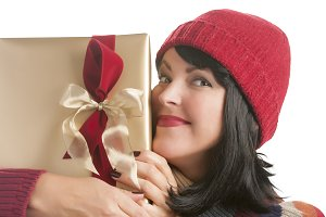 Happy Woman Holding Christmas Gift o