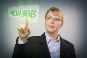 Woman Pushing New Job Button on Inte
