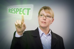 Woman Pushing Respect Button on Inte