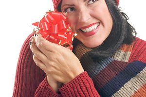 Attractive Woman Holds Gift