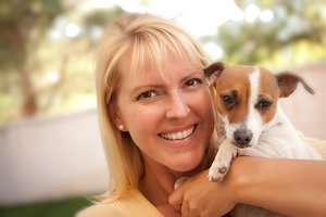 Attractive Woman and Her Jack Russel