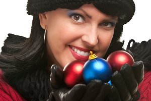 Attractive Woman Holding Christmas O
