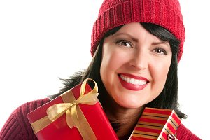 Pretty Woman Holding Holiday Gifts