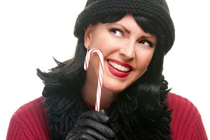 Pretty Woman Holding Candy Cane