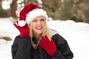 Attractive Santa Hat Wearing Blond W