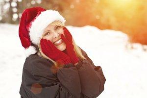 Attractive Santa Hat Wearing Blond W