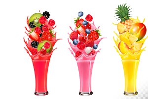 Fruit in juice splashes. Vector