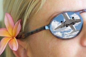 Girl Wearing Sunglasses, Plumeria Fl