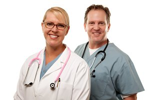 Friendly Male and Female Doctors on