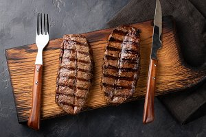 Closeup ready to eat steak Top Blade