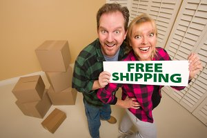 Goofy Couple Holding Free Shipping S