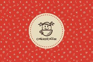 Cookies&Coffee. Doodle Logo