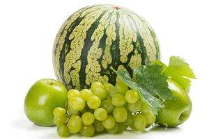 Green fruits: watermelon, grape, app