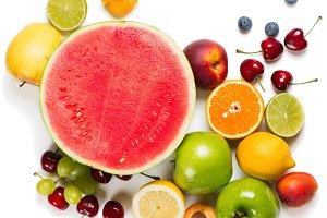 Arrangement ripe fruits for eating h