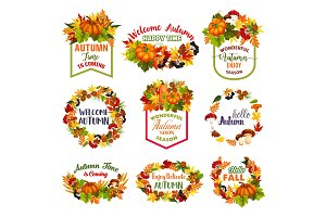 Autumn time vector icons of fall