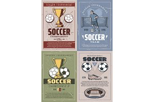 Soccer vintage and retro posters