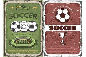 Vintage grunge soccer game posters