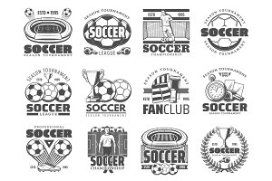 Soccer and football sport icons